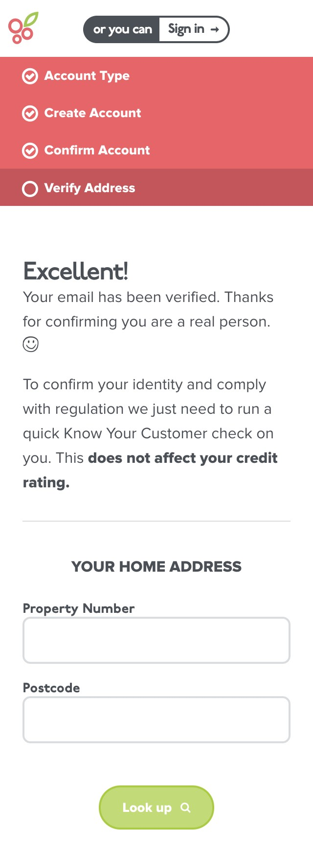 Mobile view of the address look-up form