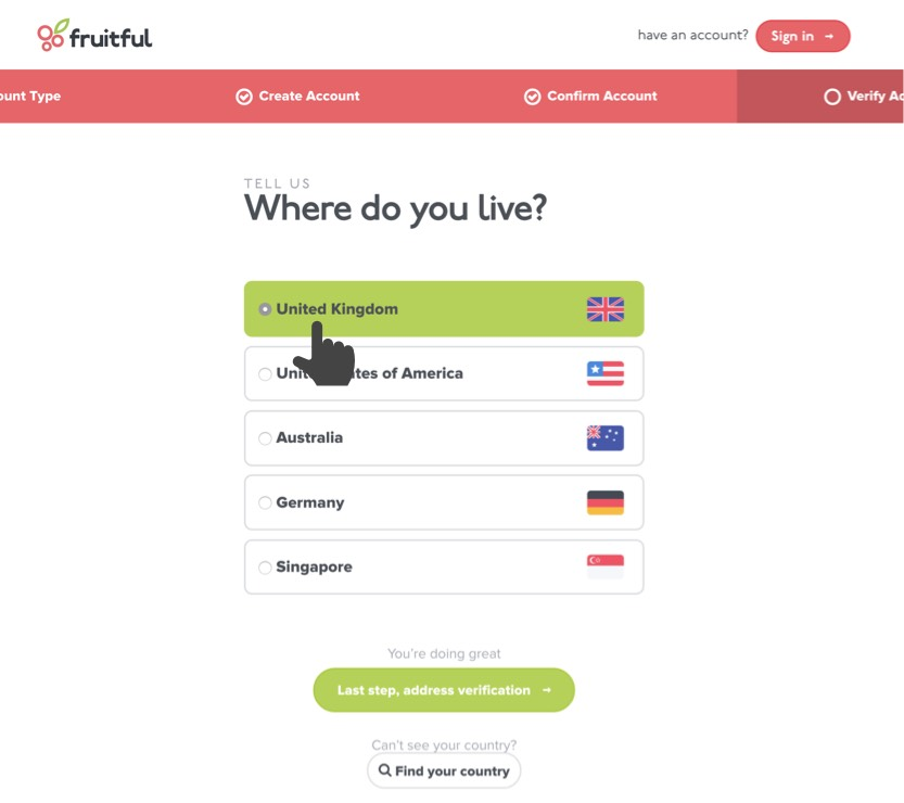 Country selector showing your country
