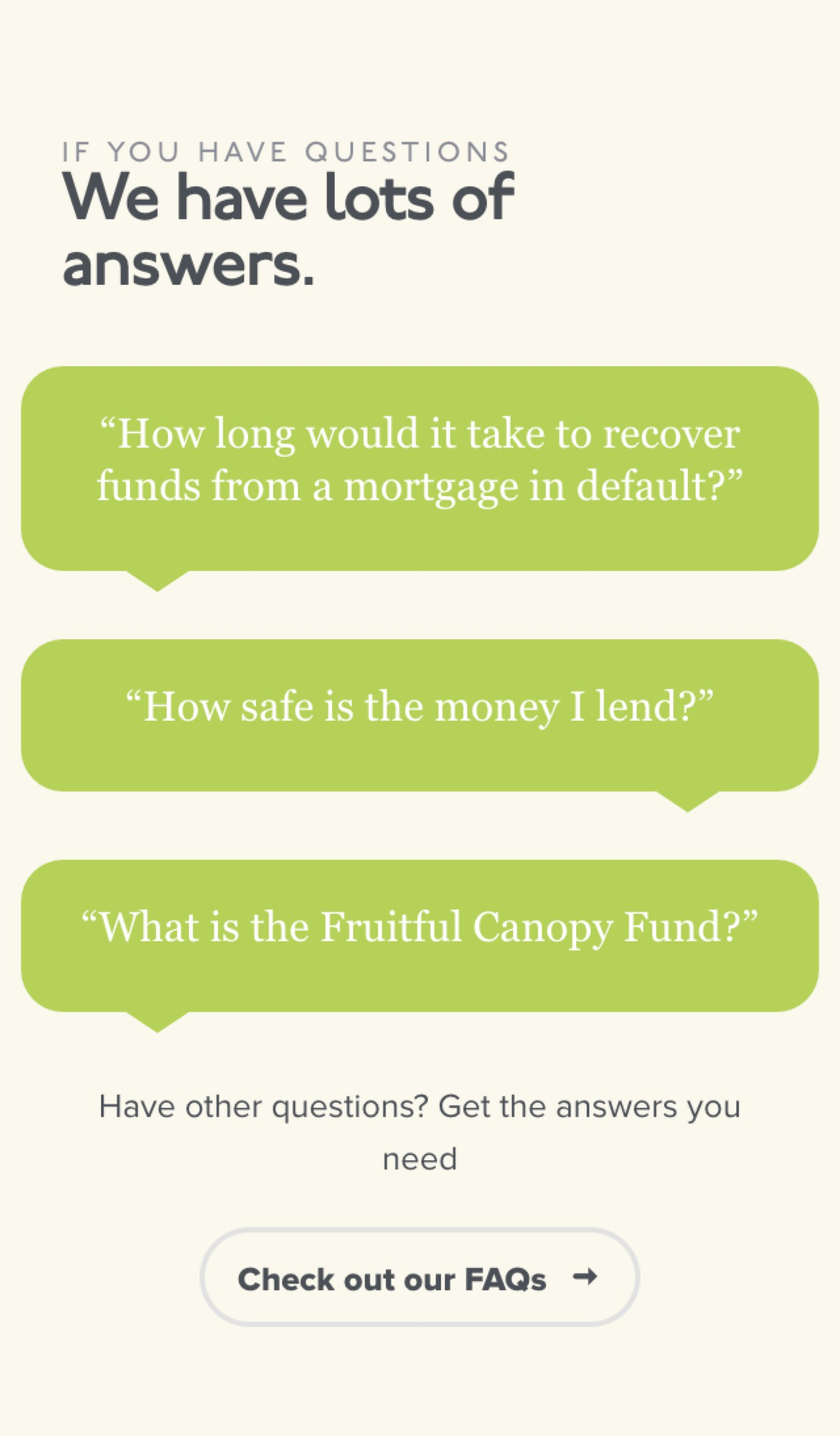 Screenshot of Fruitful secured lending FAQs on mobiles