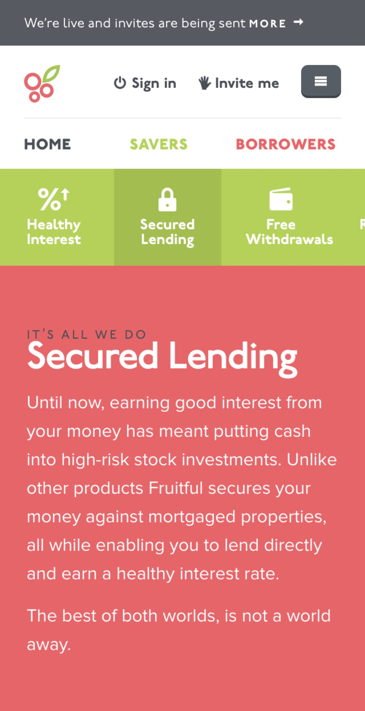 Screenshot of Fruitful's secured lending screen on mobiles