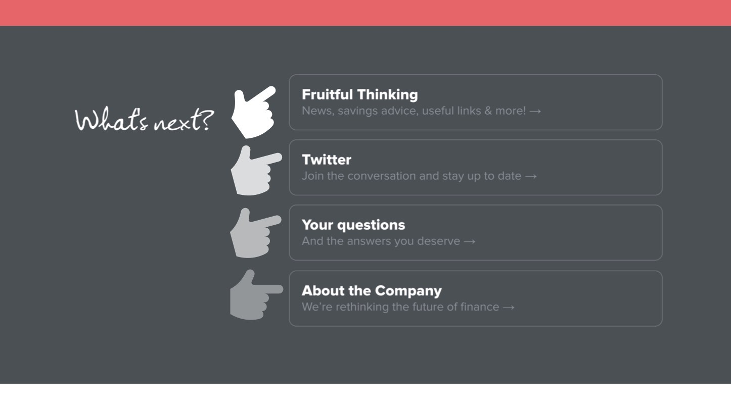Screenshot of the what's next footer