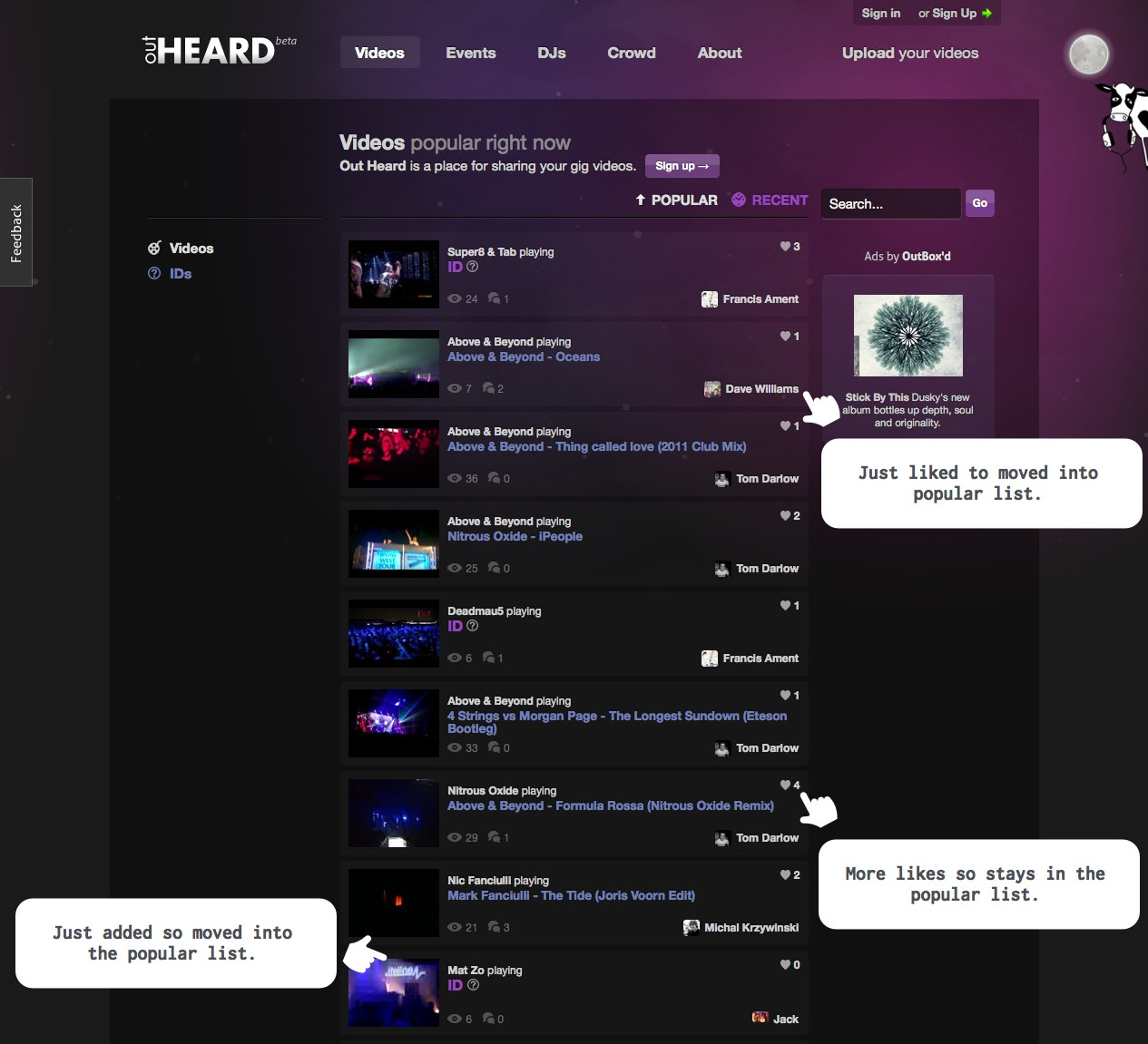 Screenshot of the popular videos on outheard.tv