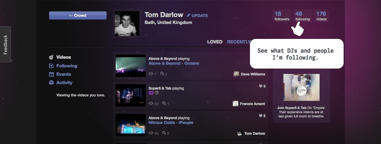 Screenshot of the profile views on outheard.tv