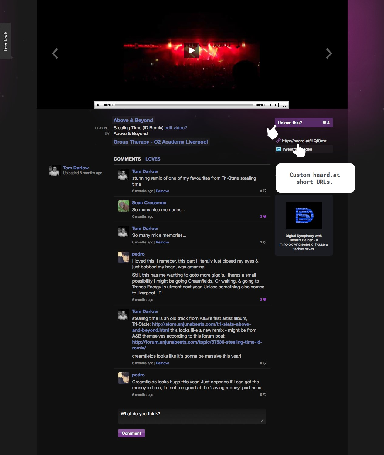 Screenshot of the video playing on outheard.tv