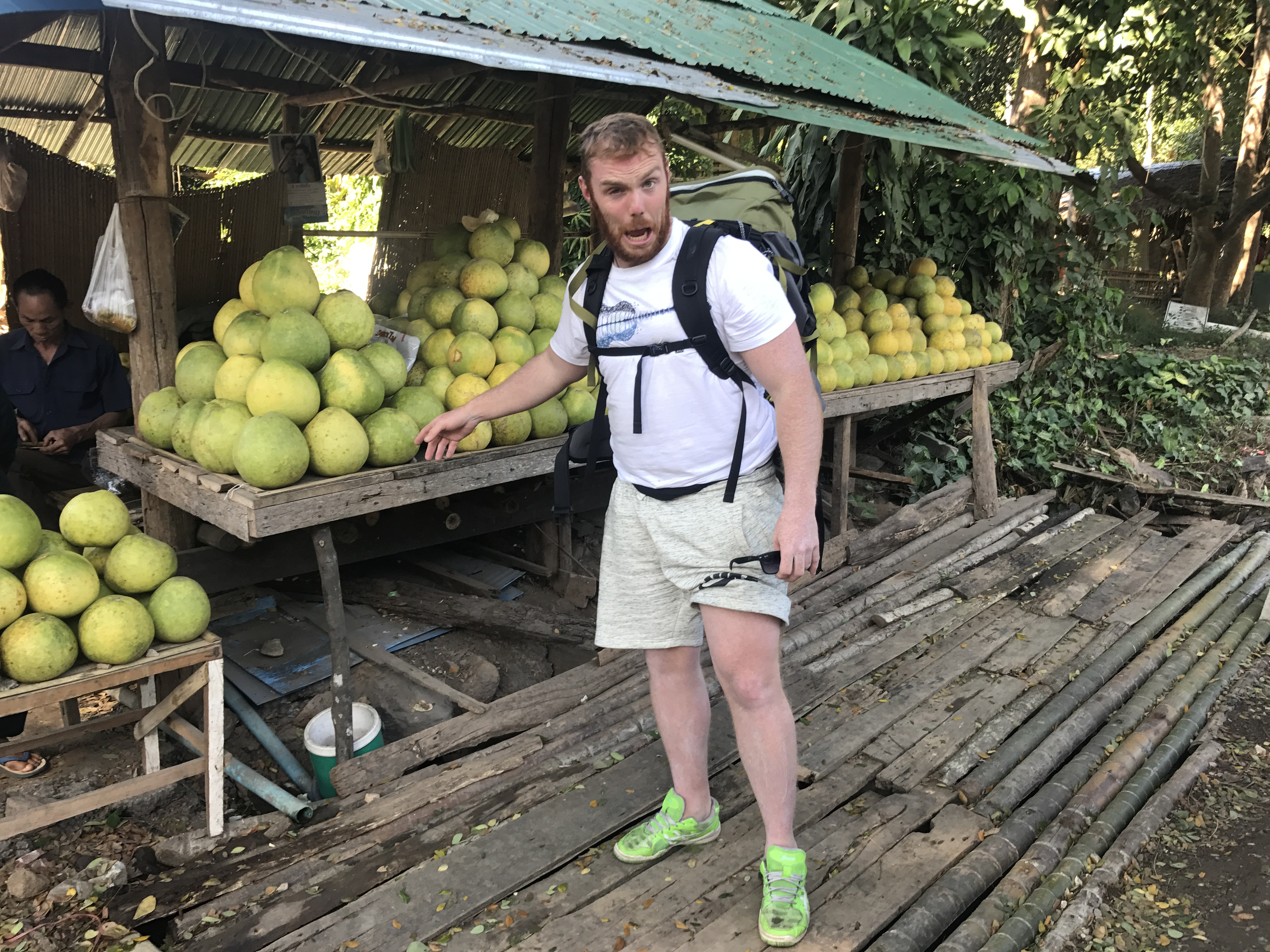 Andreas next to the fruit stool