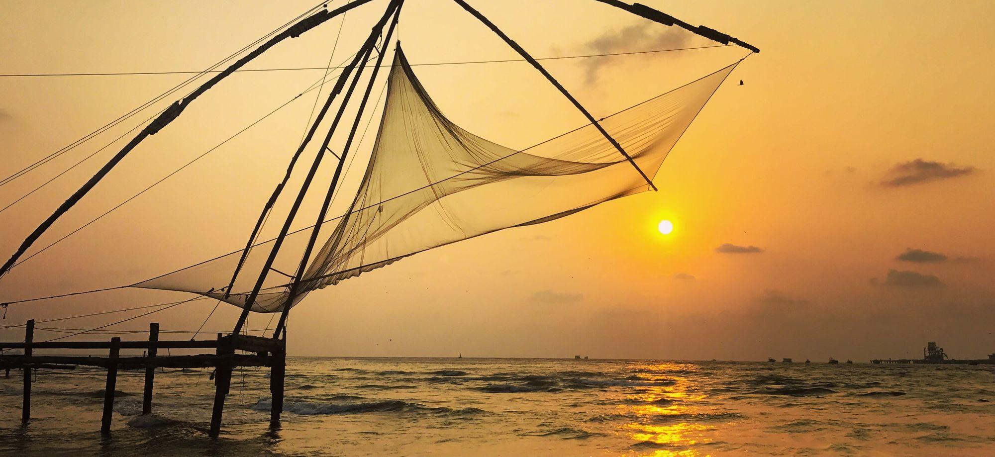 Chinese fishing nets in Kochin, India.